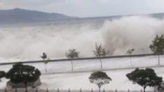 Giresun'da dev dalgalar sahil yolunu kapadı !