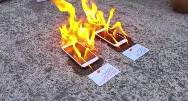 İphone 6 ve Galaxy S5 yakma testi