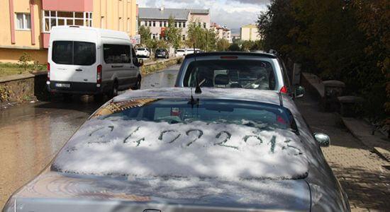 Erzurum'da Mesvimin İlk Kar Yağışı
