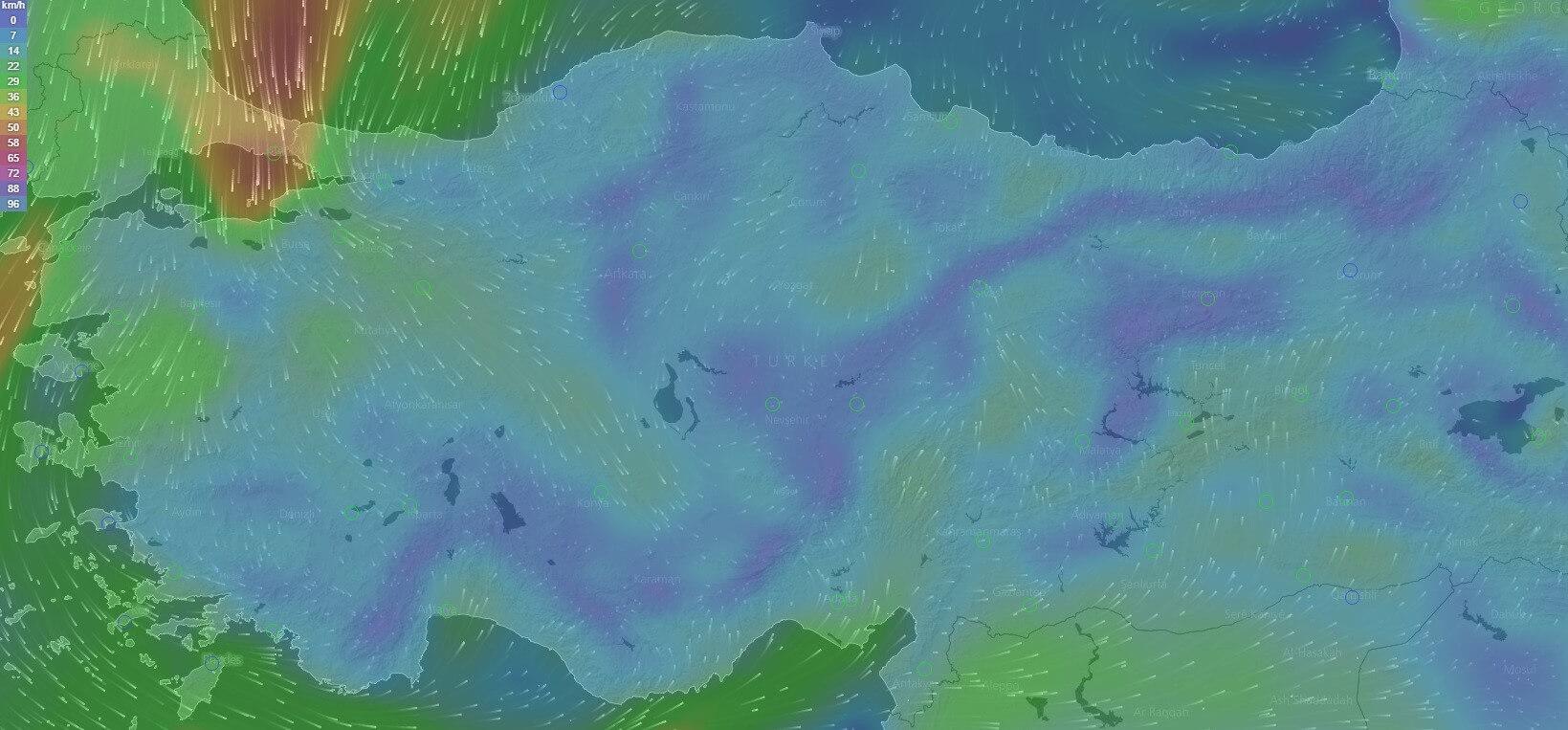 Salı Gününün Rüzgar Haritası