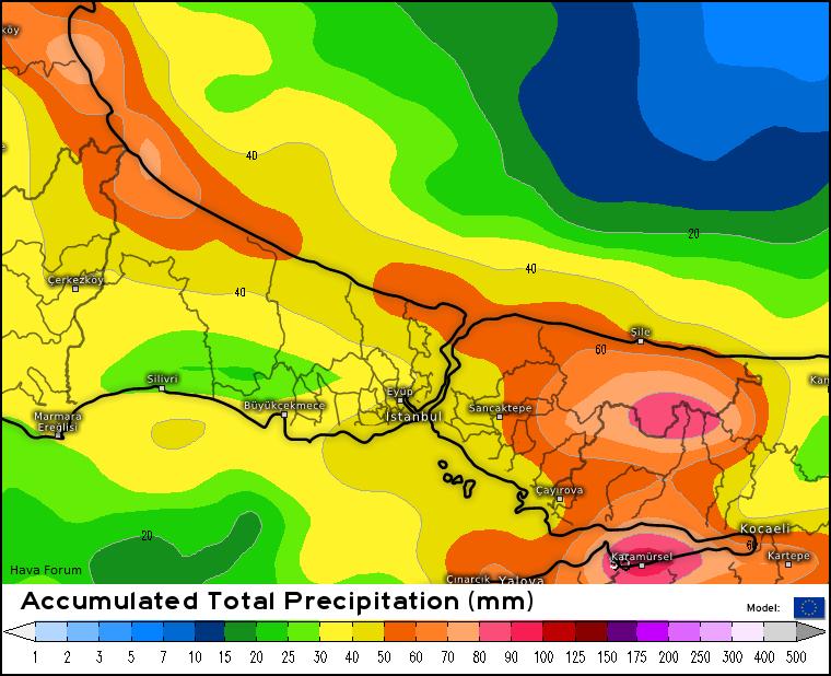istanbul-yagis-modeli-1 İstanbul'da kuvvetli yağmur bekleniyor! Haberler Uyarılar